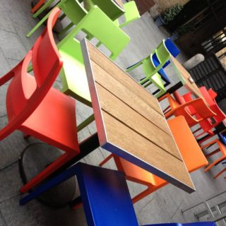 Sol stackable outside restaurant chairs supplied to Camino Kings Cross. by DeFrae Contract Furniture