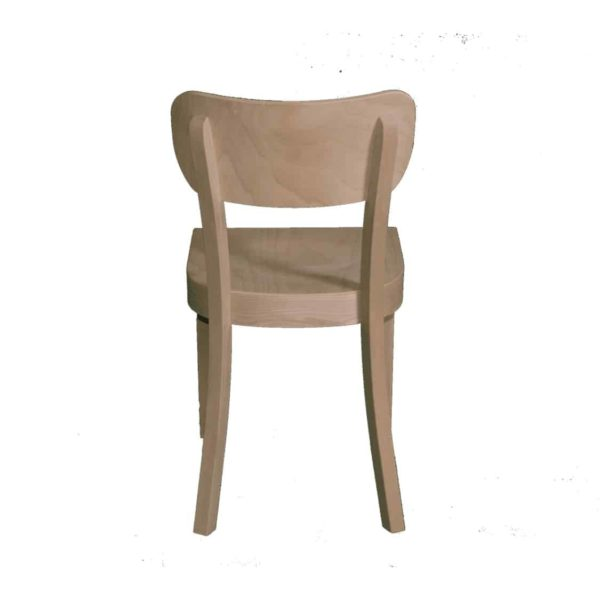 Poppy Side Chair Wood Chair With Curved Back Rest DeFrae Contract Furniture Back View