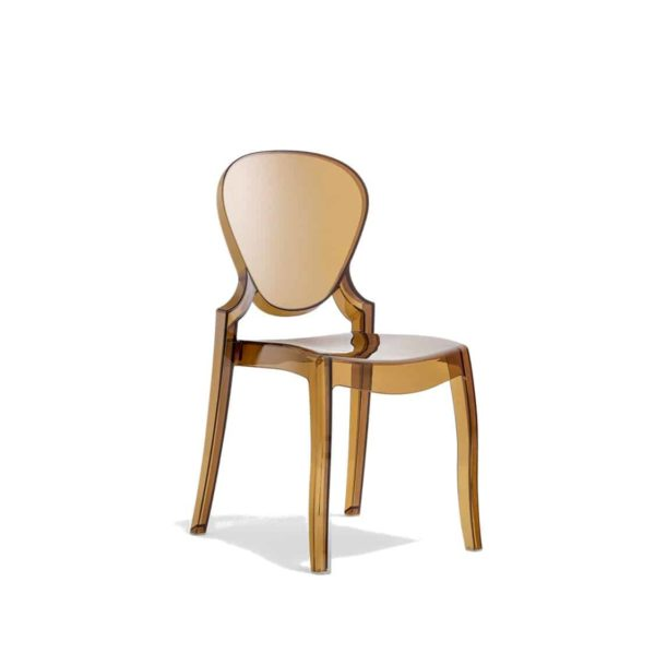 Queen Side Chair Transparent Amber Pedrali at DeFrae