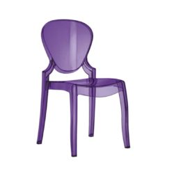 Queen Side Chair Transparent Lilac Pedrali at DeFrae Profile