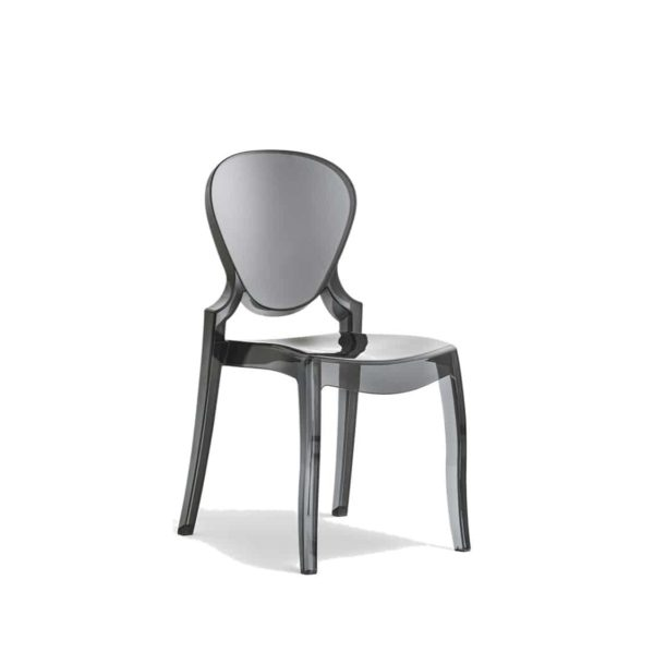 Queen Side Chair Transparent Smoke Grey Pedrali at DeFrae