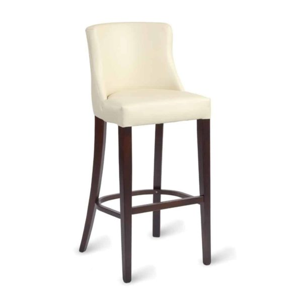 Repton Bar Stool DeFrae Contract Furniture Cream Ivory Faux Leather