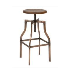 Reva Bar Stool Industrial Adujstable Height tubular steel frame, finished copper effect DeFrae Contract Furniture