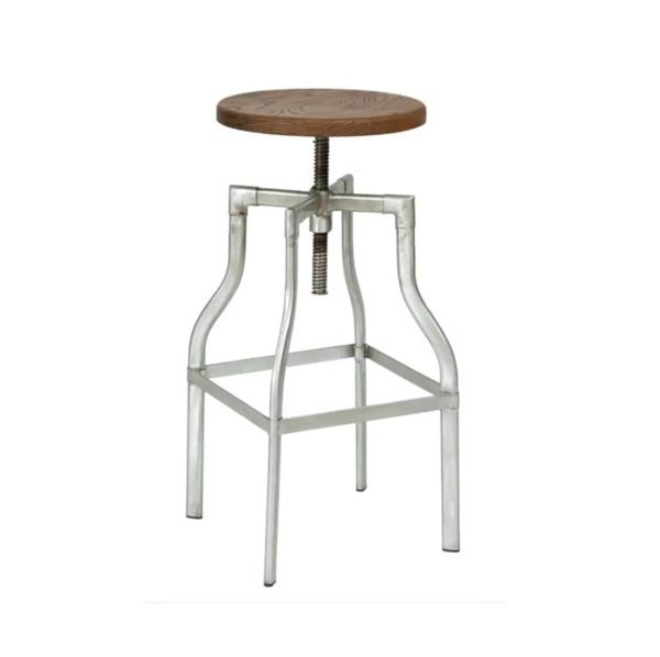Reva Bar Stool Industrial Adujstable Height tubular steel frame, finished silver effect DeFrae Contract Furniture