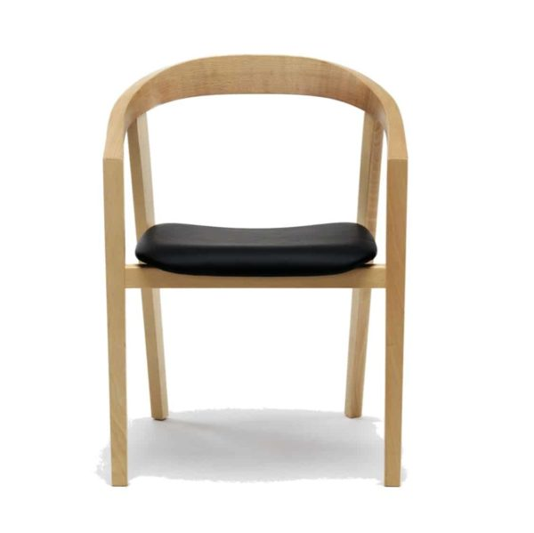 Ro Armchair Curved Back With Upholstered Seat DeFrae Comtract Furniture Front View