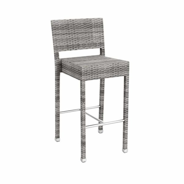 Rosa Bar Stool Rattan Outside Chair DeFrae Contract Furniture Grey