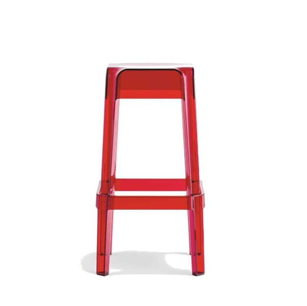 Rubik 580 Bar Stool Pedrali at DeFrae Contract Furniture Transparent Red