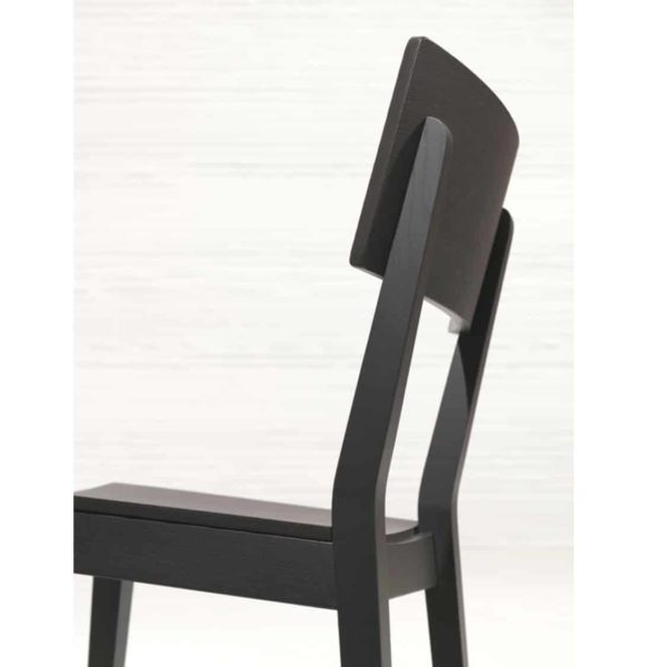 Serena Side Chair Wooden Classic Restaurant Chair DeFrae Contract Furniture Black Close Up