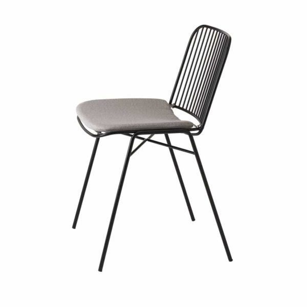 Shade Side Chair DeFrae Contract Furniture Metal Frame Outdoor Chair Black With Upholstered Seat