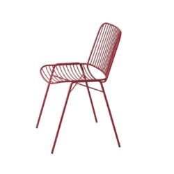 Shade Side Chair DeFrae Contract Furniture Metal Frame Outdoor Chair Red