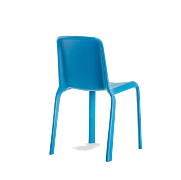 Snow Side Chair Stackable Outdoor Chair Pedrali at DeFrae Contract Furniture Blue Back