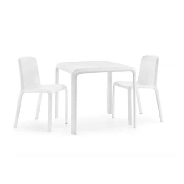 Snow Table Stackable Outdoor Chair Pedrali at DeFrae Contract Furniture with Snow Side Chairs