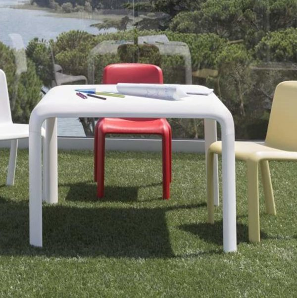 Snow Table Stackable Outdoor Chair Pedrali at DeFrae Contract Furniture with Snow Side Chairs in situ 2