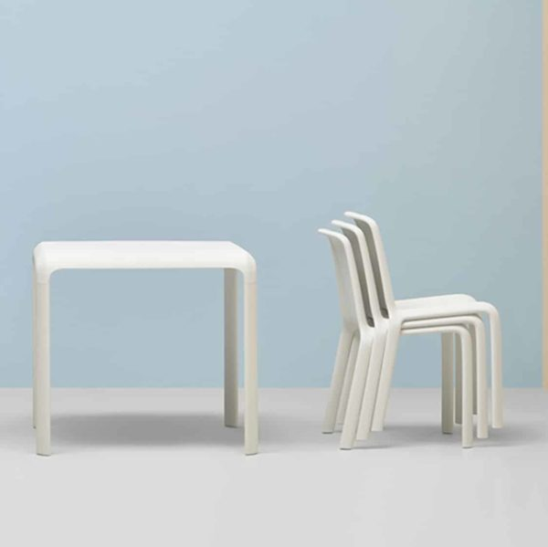 Snow Table Stackable Outdoor Chair Pedrali at DeFrae Contract Furniture with Snow Side Chairs in situ