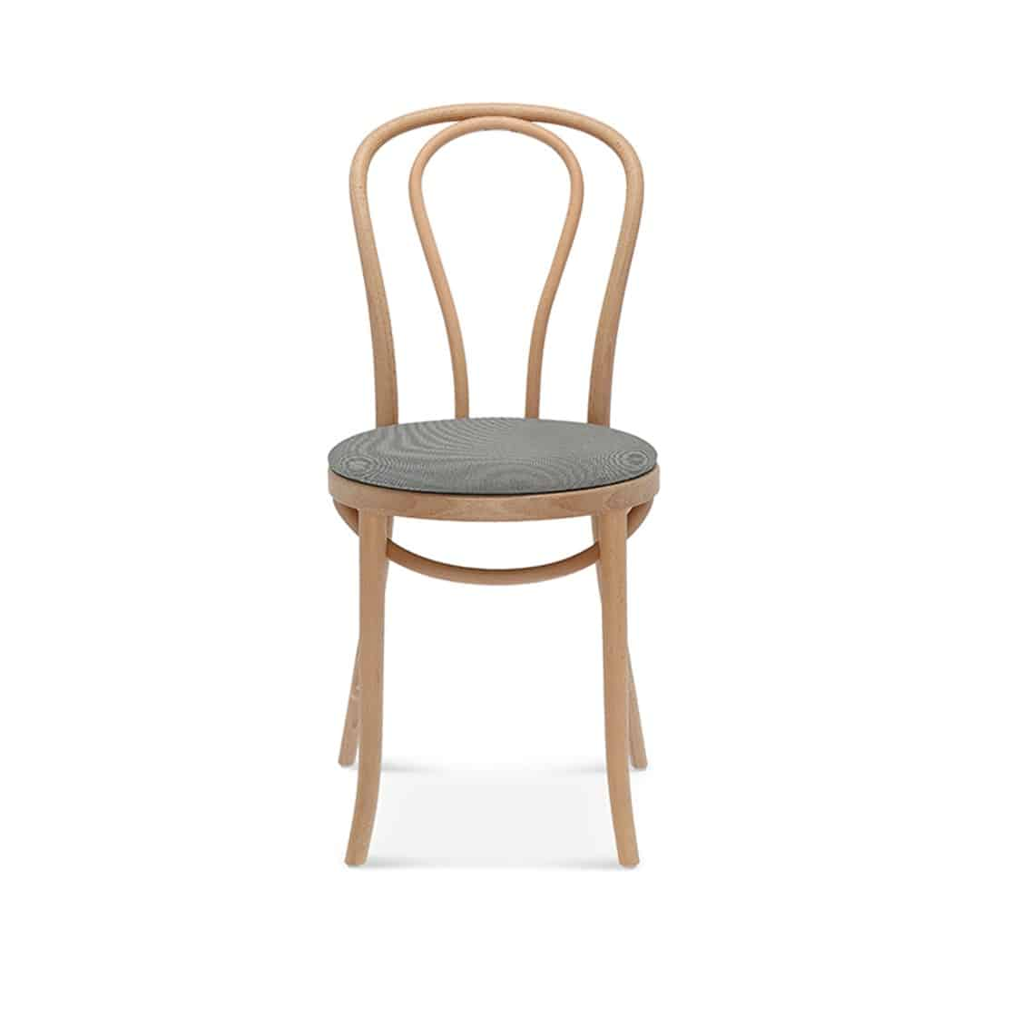 Soho side chair 10 classic bentwood chair DeFrae Contract Furniture upholstered seat front view