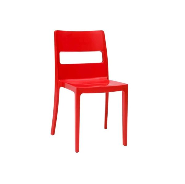 Sol Side Chair DeFrae Contract Furniture Outside Red