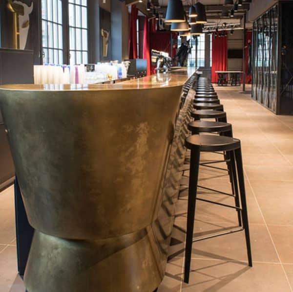 Sputnik Bar Stool DeFrae Contract Furniture Black In Situ