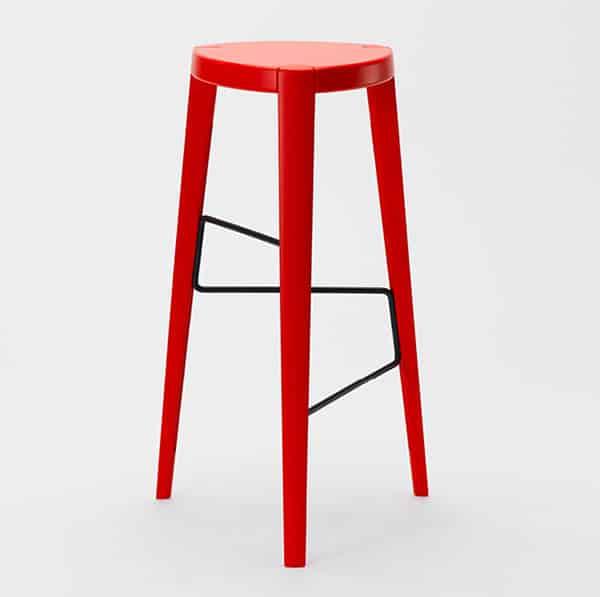 Sputnik Bar Stool DeFrae Contract Furniture Red