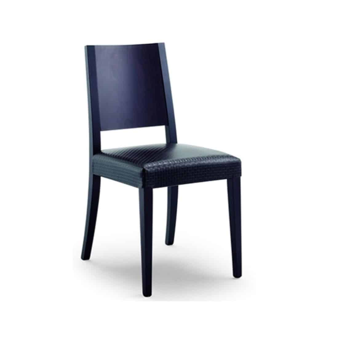 Stanford Side Chair Black Leather DIning Chair DeFrae Contract Furniture