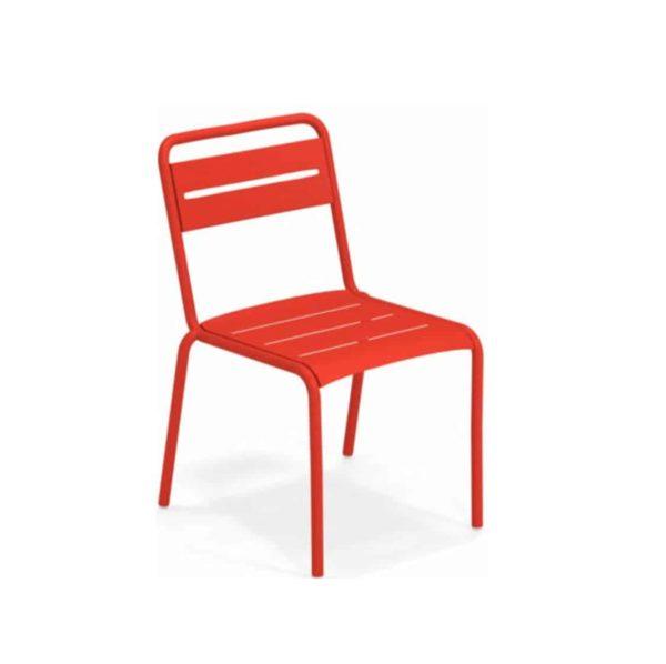 Star Side Chair Steel Scarlet Red 50