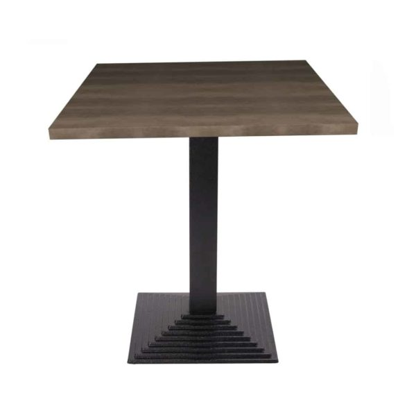 Stepped Cast Iron Black Table Base DeFrae Contract Furniture Square Dining Height