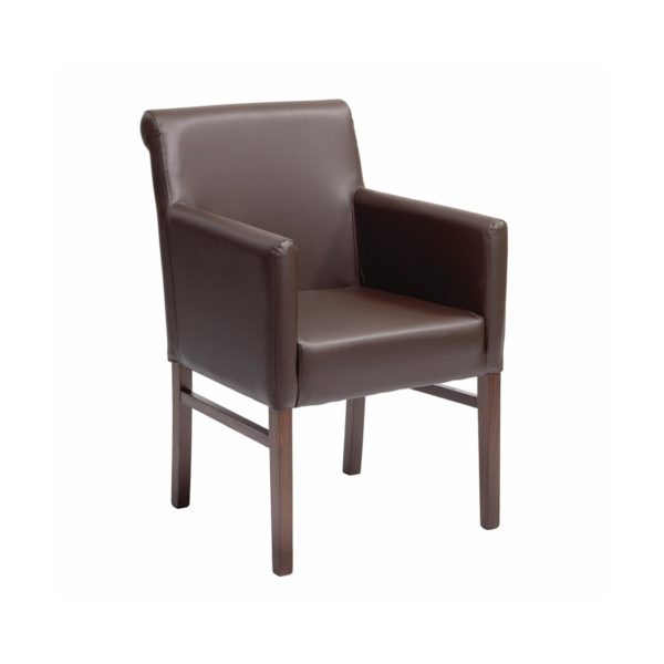 Teddy Armchair from DeFrae Contract Furniture Brown Faux Leather