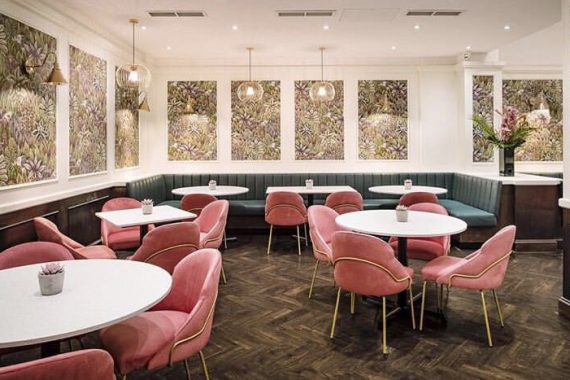 Contract furniture by DeFrae at Ooty Indian Restaurant Baker Street London Paris Side Chair with brass frame