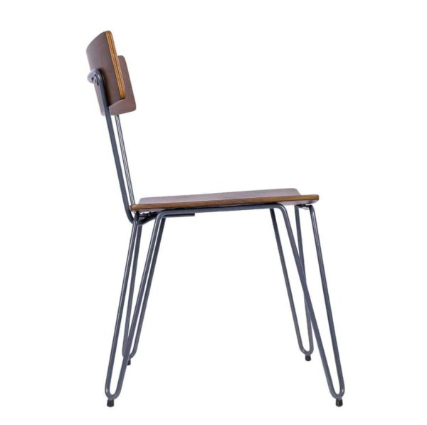 Trinian Side Chair with hairpin legs DeFrae Contract Furniture side view