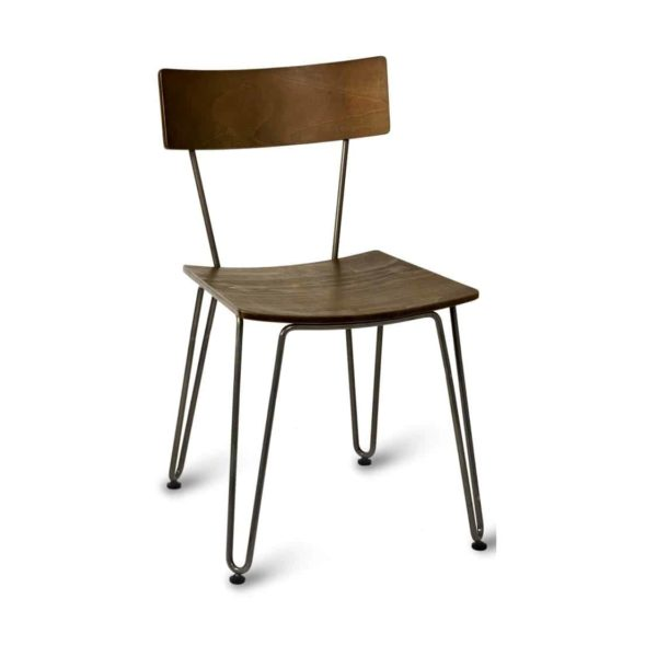 Trinian Side Chair with wooden seat and metal hairpin legs
