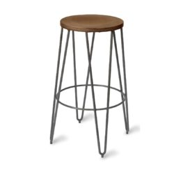 Trinian High Bar Stool with wooden seat and metal hairpin legs