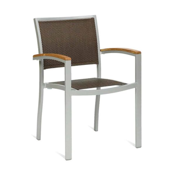 Rome Armchair Stackable Outside Chair DeFrae Contract Furniture Weave Back and Seat