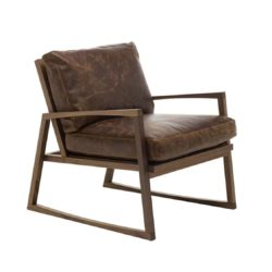 Yorkie lounge armchair brown leather wood frame contemporary
