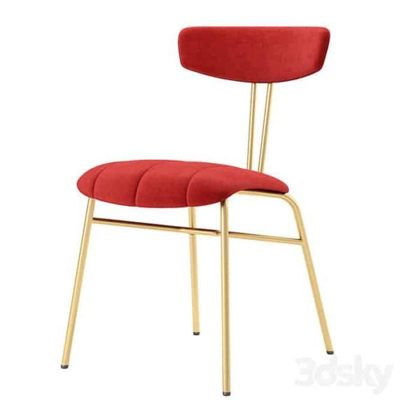Amy Side Chair with brass legs DeFrae Contract Furniture Red