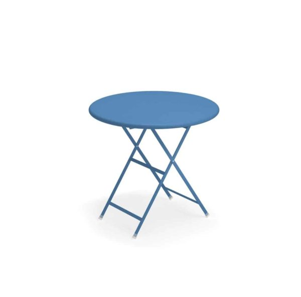 Arc en ciel folding round from Emu available from DeFrae Contract Furniture blue