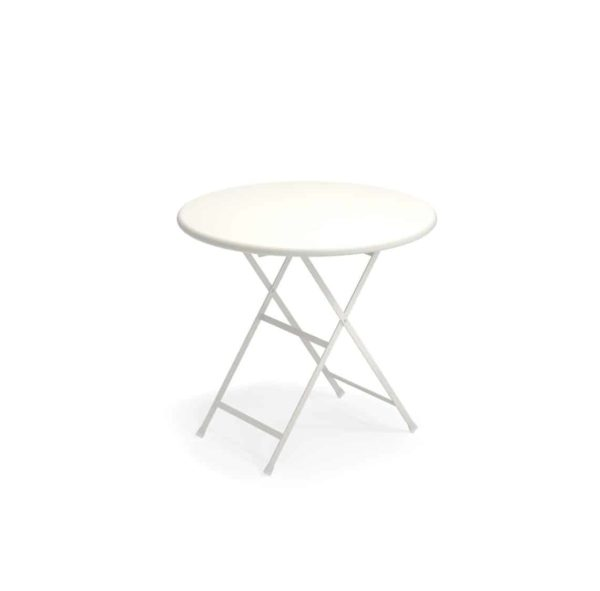 Arc en ciel folding round from Emu available from DeFrae Contract Furniture white
