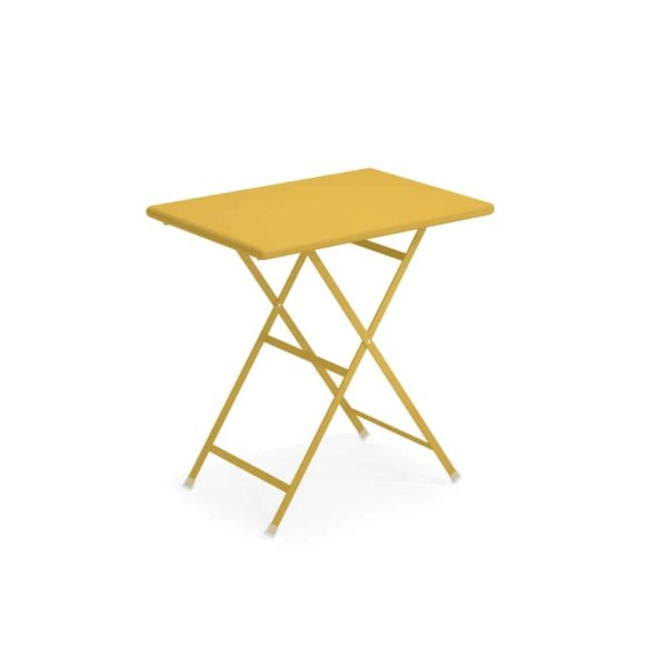 Arc en ciel folding outdoor folding table sqaure from Emu available from DeFrae Contract Furniture Mustard Yellow