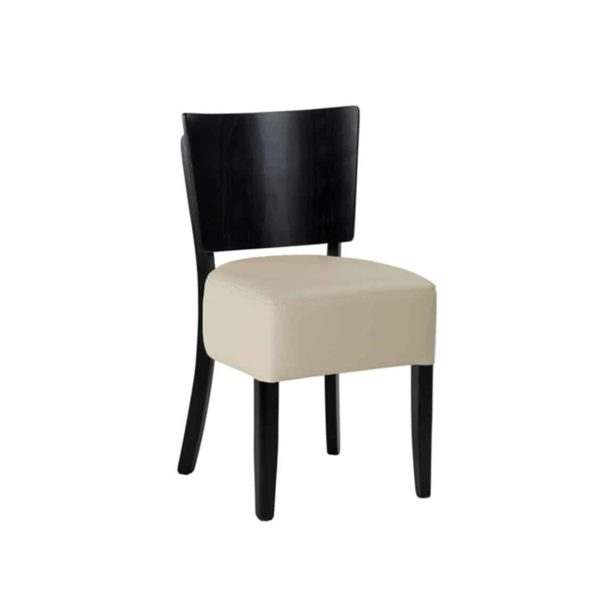 Ascot Side Chairs From DeFrae Contract Furniture Cream Faux Leather Wenge Frame Without Back
