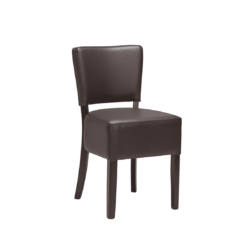 Ascot Side Chairs From DeFrae Contract Furniture Dark Brown Faux Leather Wenge Frame