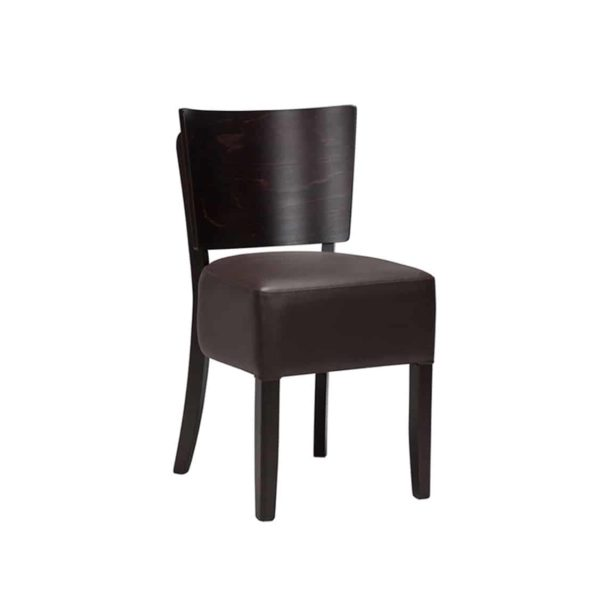 Ascot Side Chairs From DeFrae Contract Furniture Dark Brown Faux Leather Wenge Frame Without Back