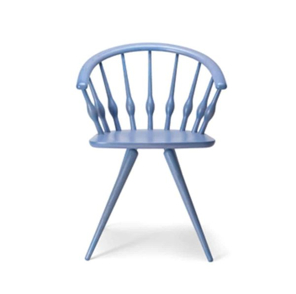 Ashleigh Spindle Back Side Chair Aston Cizeta DeFrae Contract Furniture blue back view