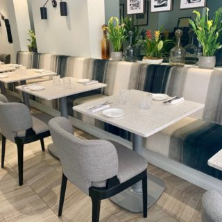 Banquette Seating Tea Chairs Terazzo Tabletop Tops Ax Table Bases Restaurant Furniture At Xier London By DeFrae Contract Furniture