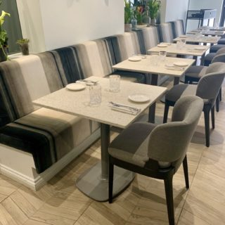Plain back banquette seating by DeFrae Contract Furniture at XR Xier Restaurant London