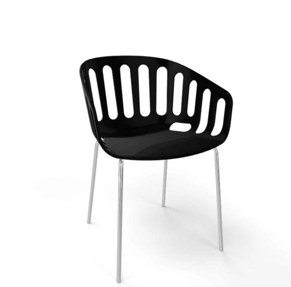 Basket Armchair Gaber at DeFrae Contract Furniture Black shell and chrome legs
