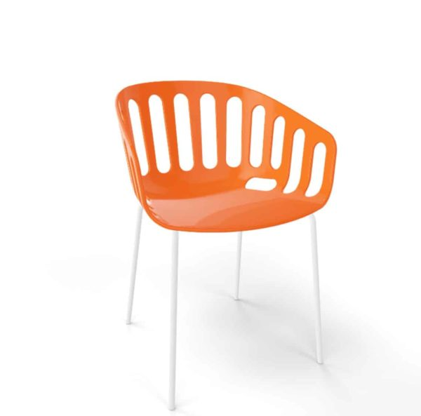 Basket Armchair Gaber at DeFrae Contract Furniture Orange shell and white legs