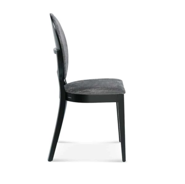 Belle side chair medallion round back restaurant chair DeFrae Contract Furniture side on
