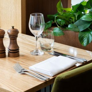 Bespoke solid wood table tops at The Gate St John's Wood restaurant