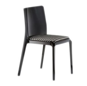 Blitz outside chair Pedrali DeFrae Contract Furniture with upholstered seat Black Front