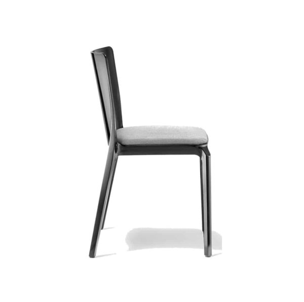 Blitz outside chair Pedrali DeFrae Contract Furniture with upholstered seat Black Side
