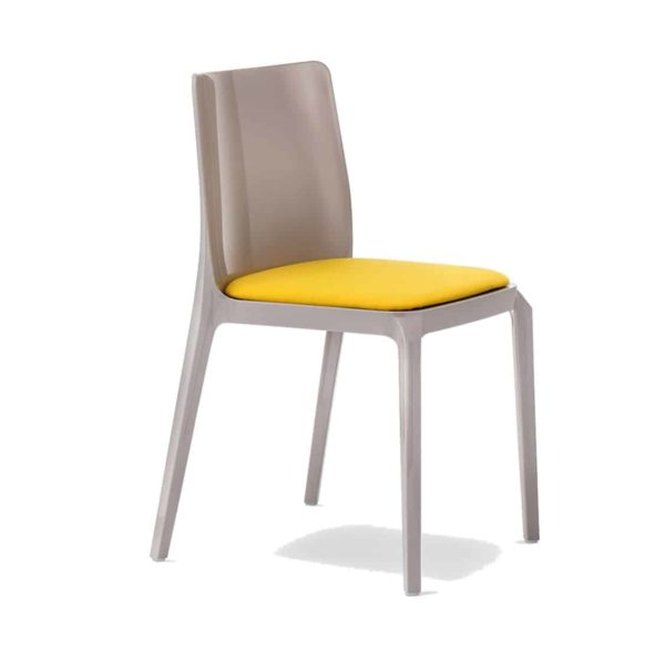 Blitz outside chair Pedrali DeFrae Contract Furniture with upholstered seat side view