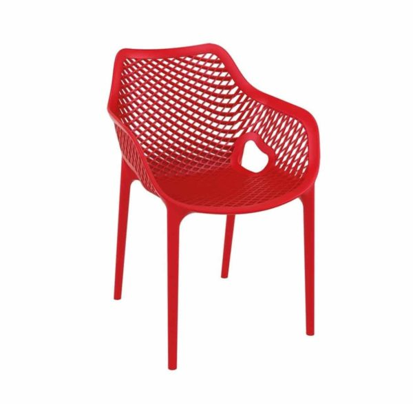 Bruce Stackable Outside Armchair DeFrae Contract Furniture Red